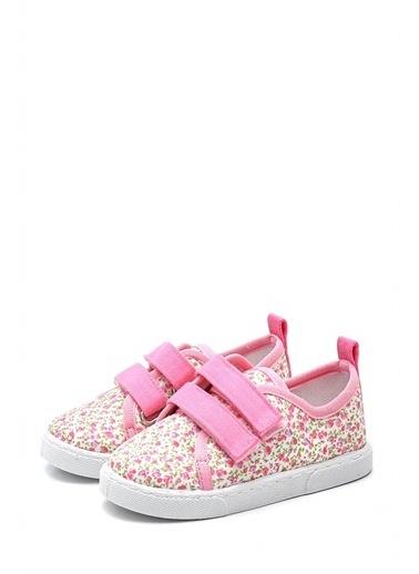 First Step  Çiçek Desenli Çift Cırtlı Keten Çocuk Ayakkabısı--F-498 Pembe